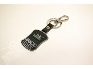Брелок УАЗ (черный + хром+кожа) односторонний / Брелок УАЗ