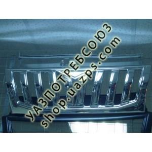 Облицовка радиатора (решетка) УАЗ ПАТРИОТ 2009-12 (ХРОМ) (типа ПРАДО) / 3163-8401014-12 PR