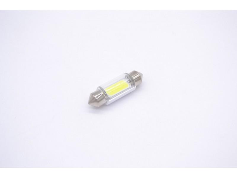 Лампа C5W 5W 12V SV8,5-36 светодиодная 3 led (салонная) (1COB, белый, с трубкой) (1 ШТ.)