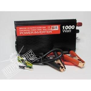 Инвертор напряжения автомобильный 12/220V 1000W, 1 розетка, 1 USB-порт