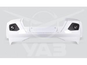 Бампер УАЗ ПАТРИОТ передний 2015-2017, пластиковый, в сб. с противотуманными фарами, цвет