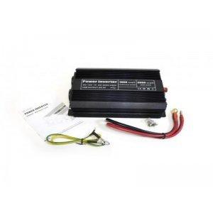 Инвертор напряжения автомобильный 24/220V 1000W, 2 розетки, 1 USB-порт